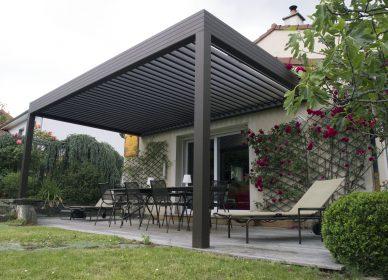 Terrasse en bois et pergola bioclimatique